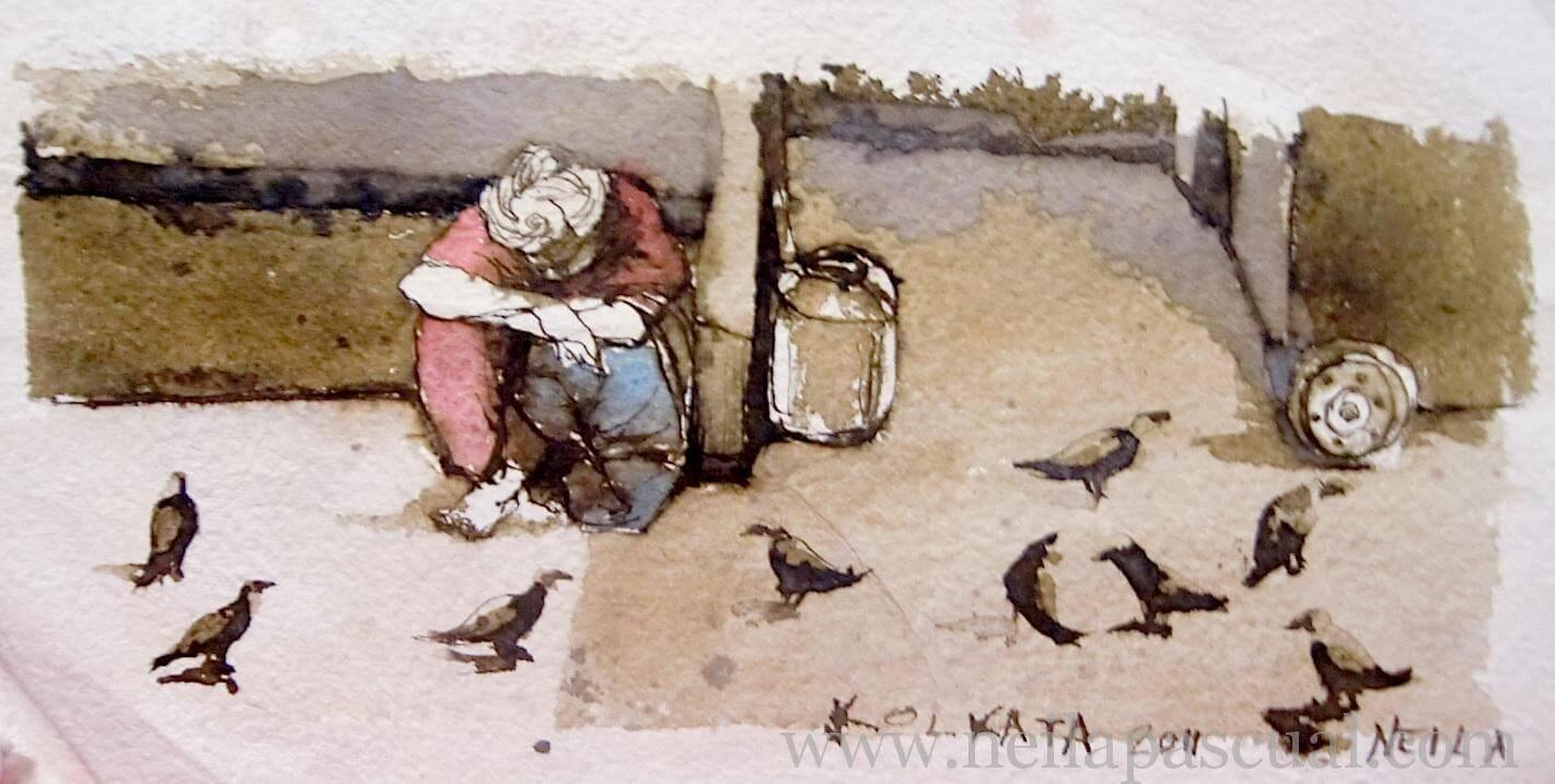 Mujer y cuervos